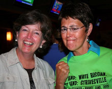 Lisa Maxwell (right), always a proud supporter of TDHC, shown here fighting cancer at an event in Philadelphia
